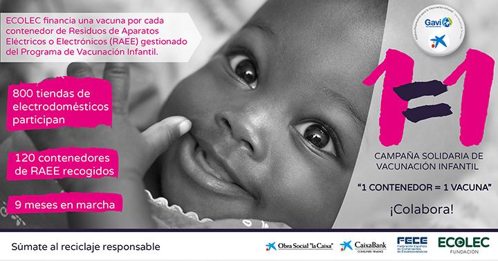 """ECOLEC desarrolla la campaña solidaria """"1 contenedor = 1 vacuna"""""""