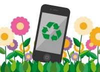 Ilustración de móvil reciclado